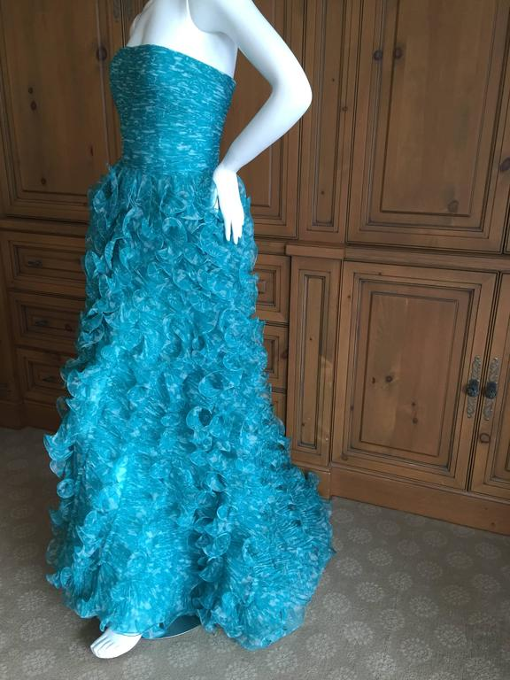 Oscar de la Renta Turquoise Vintage Ruffled Evening Gown For Sale 5