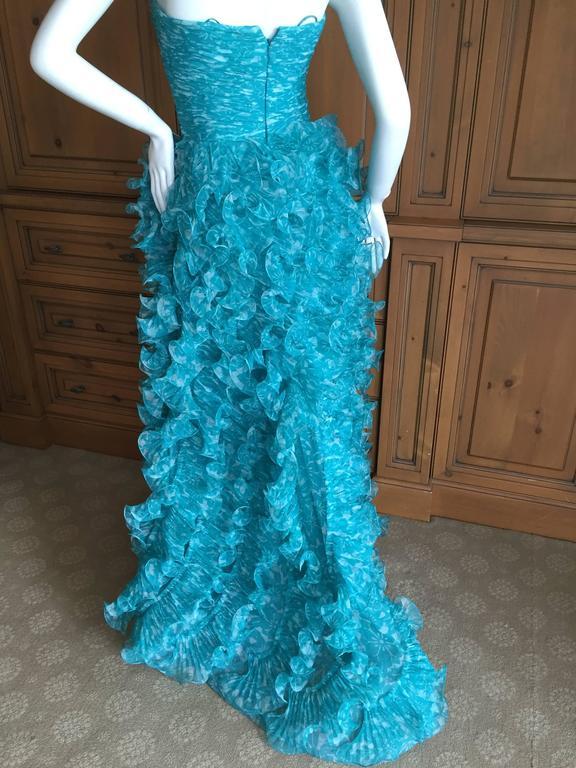 Oscar de la Renta Turquoise Vintage Ruffled Evening Gown For Sale 2