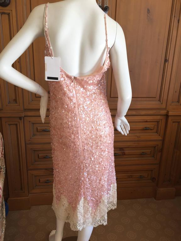 Valentino Lace Trim Sequin Slip Dress  New / Tags For Sale 2