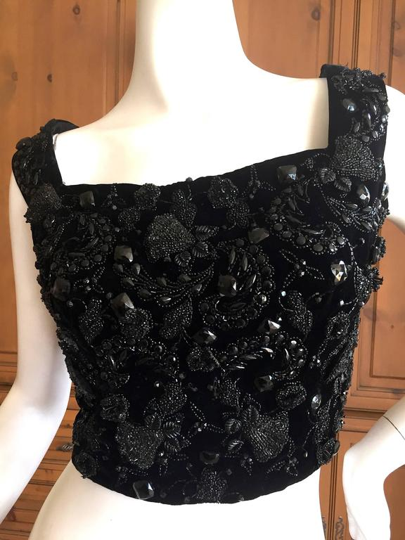 Christian Dior 1950's Numbered Haute Couture Jet Beaded Top 3