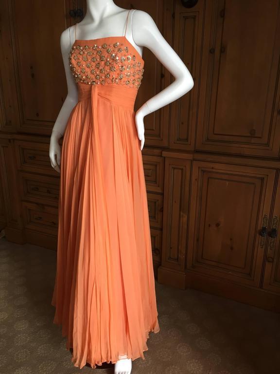 1950 Silk Chiffon Embellished Evening Dress From Saks
