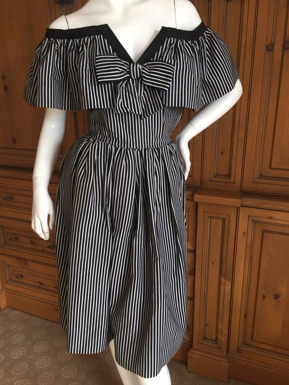 Wonderful black and white striped cotton day dress from Yves Saint Laurent  Rive Guache circa 1979.