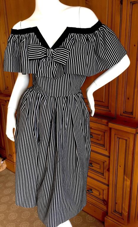 Yves Saint Laurent 1970's Rive Guache Cotton Off the Shoulder Dress 5