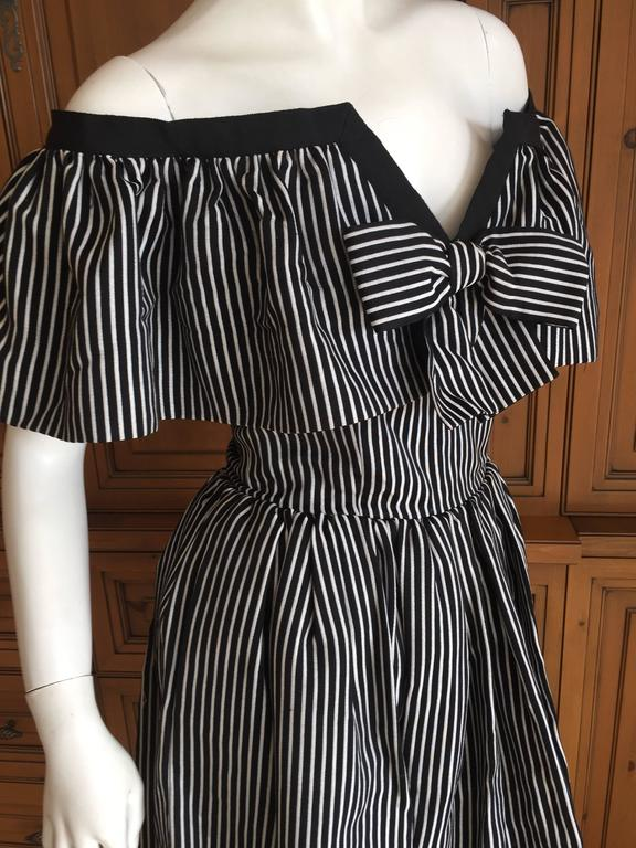 Yves Saint Laurent 1970's Rive Guache Cotton Off the Shoulder Dress In Excellent Condition For Sale In San Francisco, CA