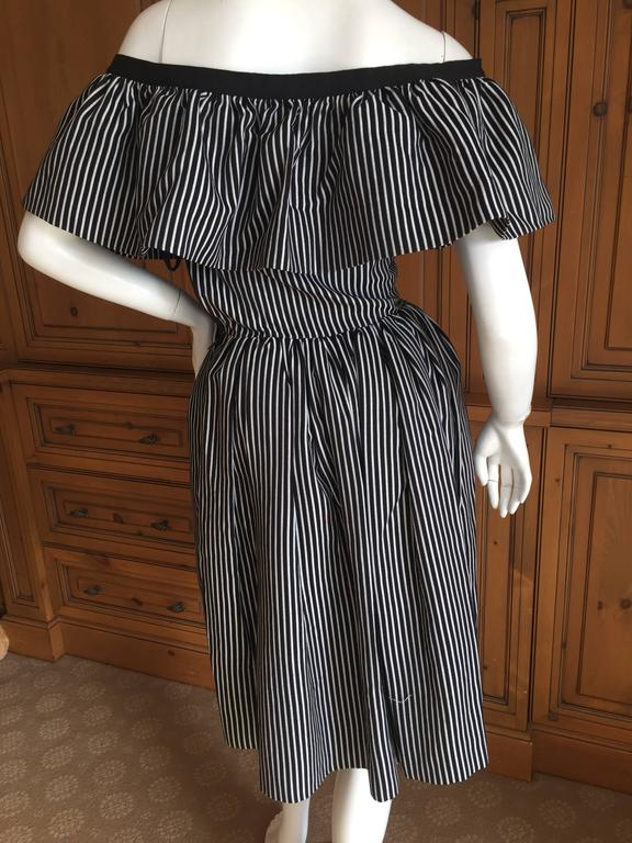 Yves Saint Laurent 1970's Rive Guache Cotton Off the Shoulder Dress 7