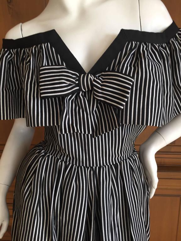 Yves Saint Laurent 1970's Rive Guache Cotton Off the Shoulder Dress 4