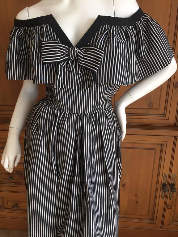 Yves Saint Laurent 1970's Rive Guache Cotton Off the Shoulder Dress 6