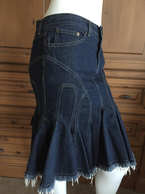 mcqueen amazing vintage sculpted denim skirt w