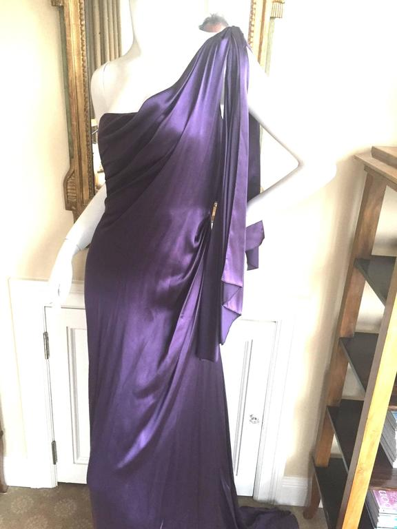 Jackie Rogers Amethyst SIlk Charmeuse One Shoulder Godess Dress 4