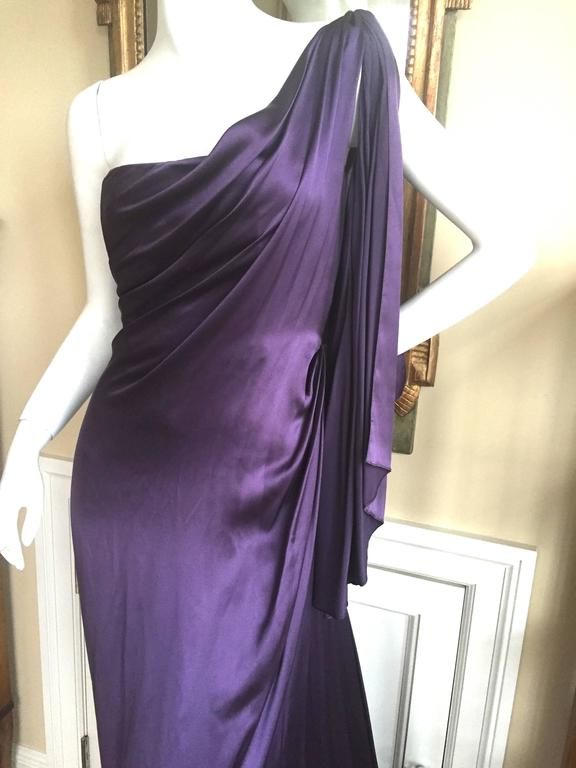 Jackie Rogers Amethyst SIlk Charmeuse One Shoulder Godess Dress 2