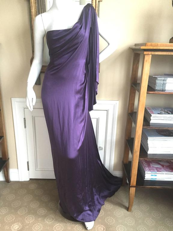 Jackie Rogers Amethyst SIlk Charmeuse One Shoulder Godess Dress 5