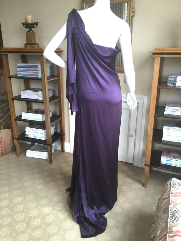 Jackie Rogers Amethyst SIlk Charmeuse One Shoulder Godess Dress 6