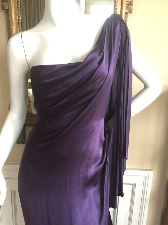 Jackie Rogers Amethyst SIlk Charmeuse One Shoulder Godess Dress 7