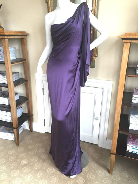 Jackie Rogers Amethyst SIlk Charmeuse One Shoulder Godess Dress 8