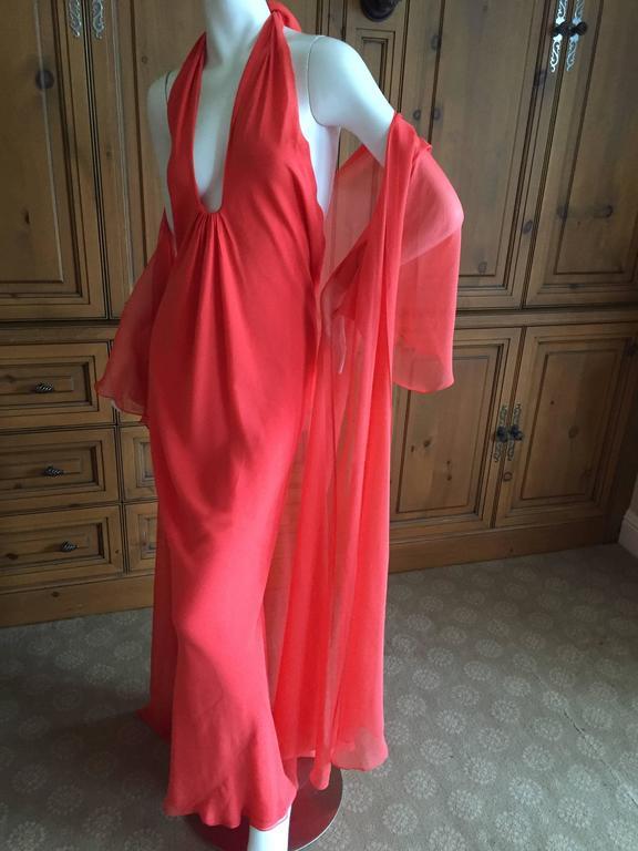 Halston 1970 S Backless Low Cut Silk Chiffon Evening Dress