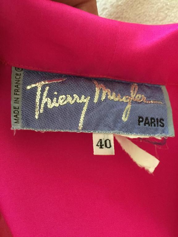 Thierry Mugler Shocking Pink Silk Suit with Belt 7