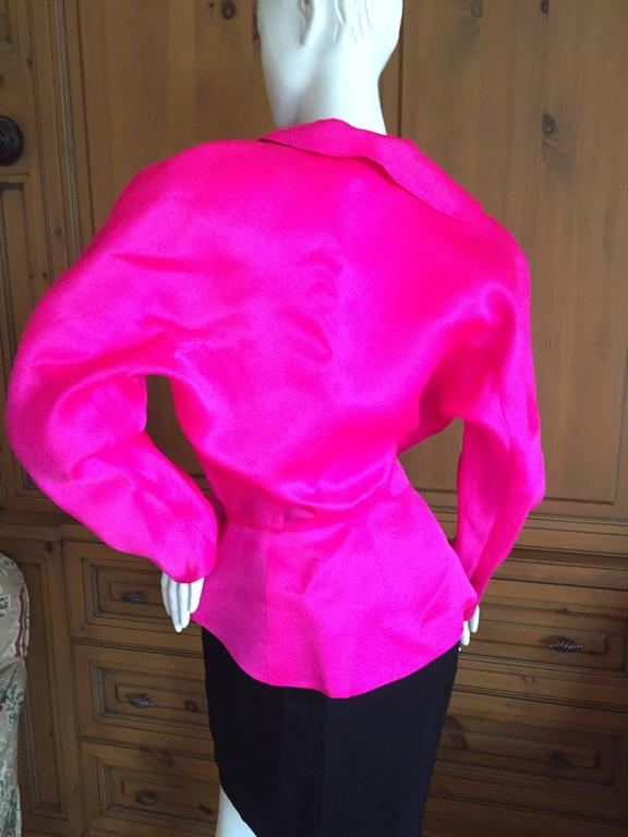 Thierry Mugler Shocking Pink Silk Suit with Belt 8