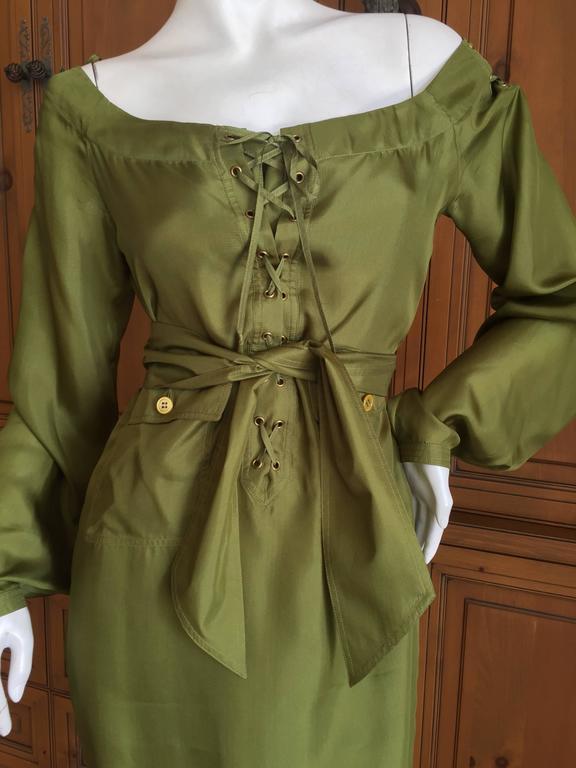 Tom Ford for Yves Saint Laurent Silk Safari Dress For Sale 2
