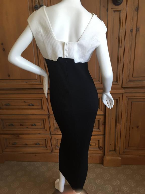 Thierry Mugler 1980's Sexy Low Cut Black & White Dress 5
