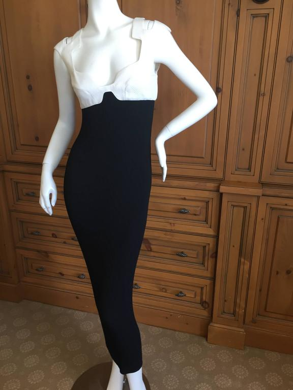 Thierry Mugler 1980's Sexy Low Cut Black & White Dress 6