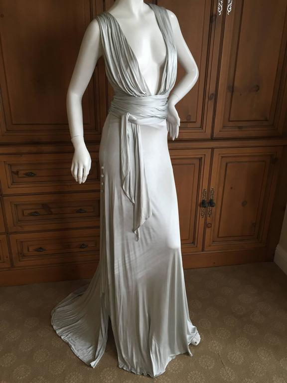Versace Low Cut Vintage Silver Siren Gown For Sale At 1stdibs