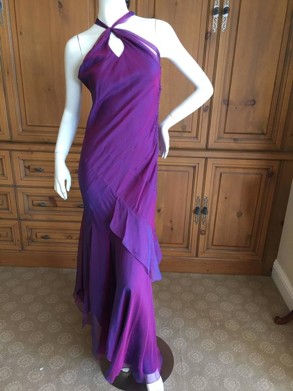 Christian Dior Iridescent Purple Silk Chiffon Evening Dress For Sale 5