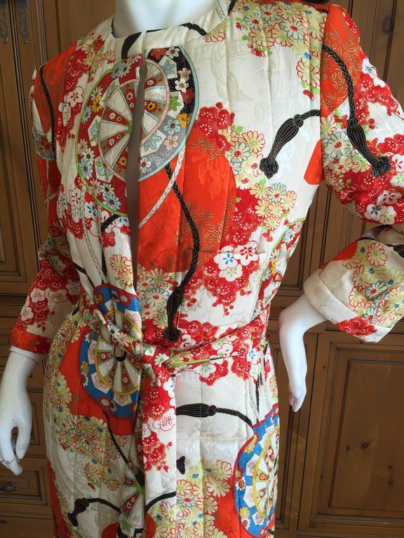 Christian Dior Japanese Silk Kimono Style Belted Coat By