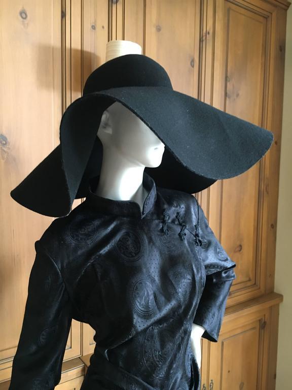 601fa7ff0a7 Women s Yves Saint Laurent Rive Gauche Wide Brim Black Hat New   Tags For  Sale