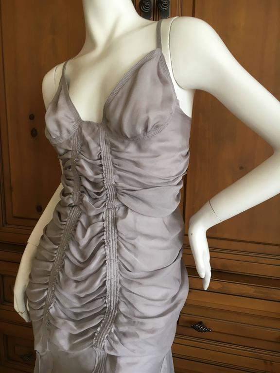 Yves Saint Laurent by Tom Ford Gray Gathered Dress 2003 6