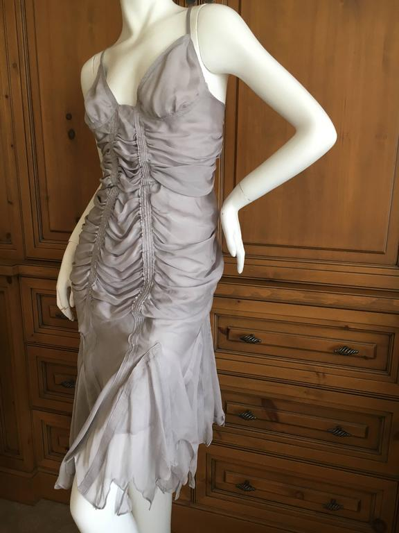 Yves Saint Laurent by Tom Ford Gray Gathered Dress 2003 7