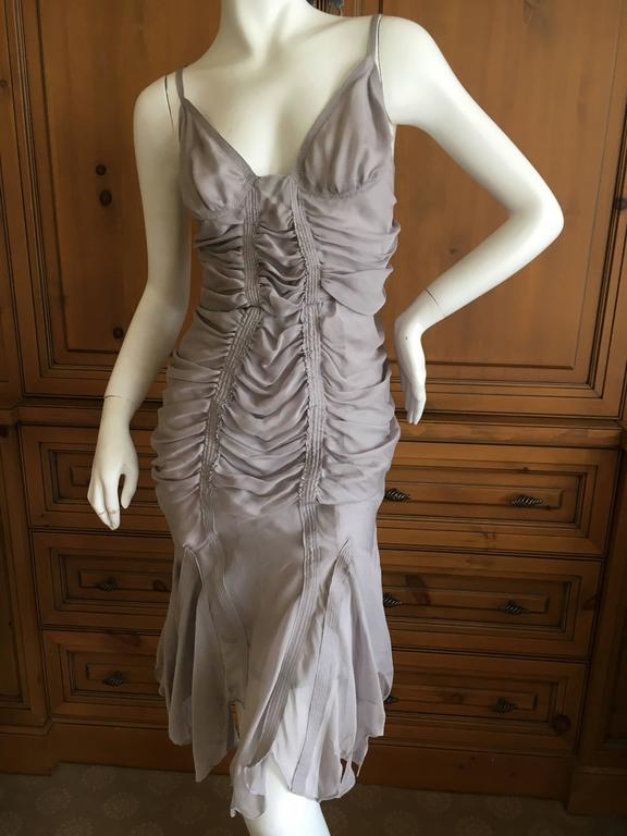 Yves Saint Laurent by Tom Ford Gray Gathered Dress 2003 3