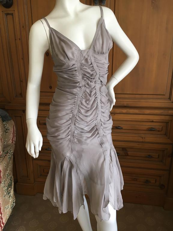Yves Saint Laurent by Tom Ford Gray Gathered Dress 2003 2