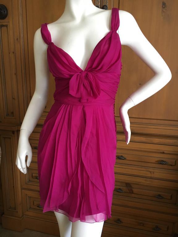 Christian Dior by John Galliano Raspberry Silk Chiffon Tunic or Mini Dress For Sale 1