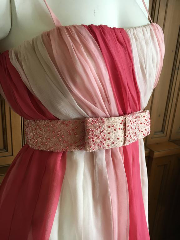 Christian Dior Silk Chiffon Tunic with Lesage Beaded Bow Belt In Good Condition For Sale In San Francisco, CA