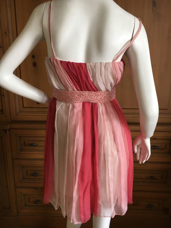 Pink Christian Dior Silk Chiffon Tunic with Lesage Beaded Bow Belt For Sale