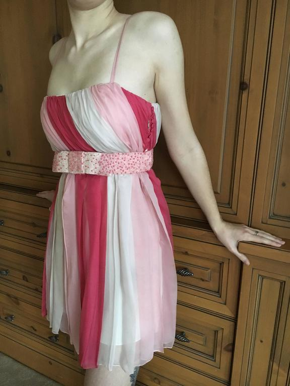 Christian Dior Silk Chiffon Tunic with Lesage Beaded Bow Belt For Sale 4