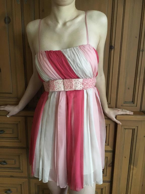 Christian Dior Silk Chiffon Tunic with Lesage Beaded Bow Belt For Sale 3