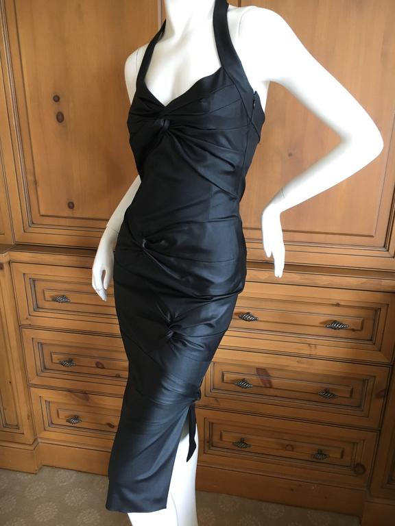 Christian Dior by Galliano Black Stretch Bodycon Knot Dress 3