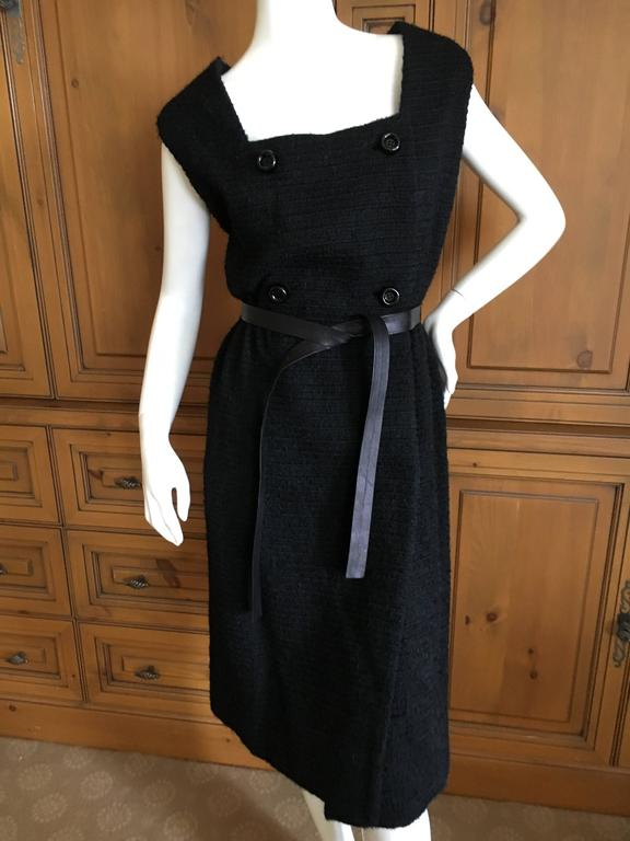 Galanos 1965 Little Black Dress With Leather Tie Belt For Sale At