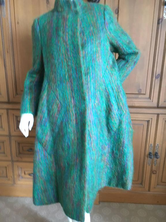 Pauline Trigere 1960 S Green Mohair Swing Coat For Sale At