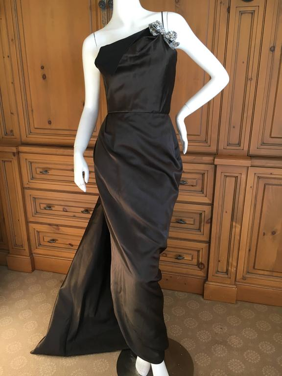 Oscar de la Renta Sweeping Silk Evening Dress in Brown and Navy 5