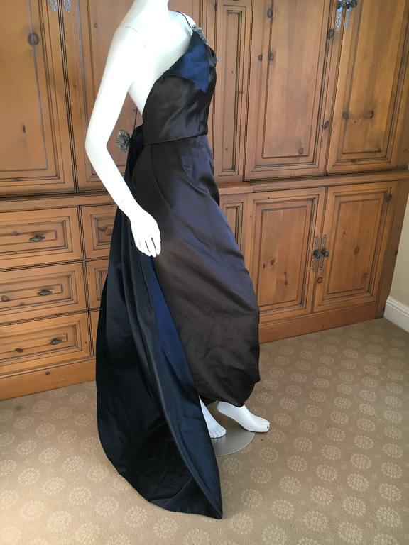 Oscar de la Renta Sweeping Silk Evening Dress in Brown and Navy 6