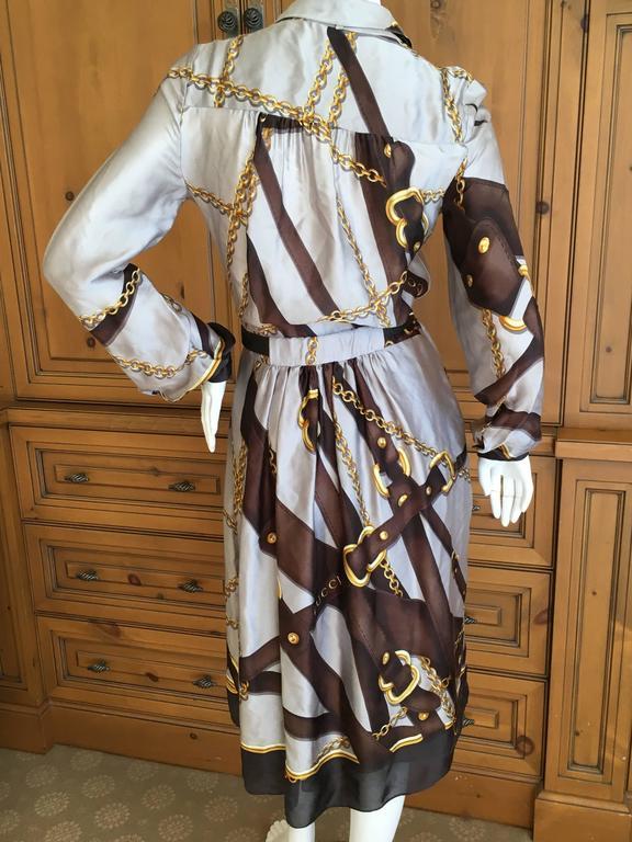 Gucci Silk Scarf Print Equestrian Theme Dress With Gold