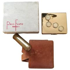 Paul Flato Compact and Lipstick in Original Leather Case with Box