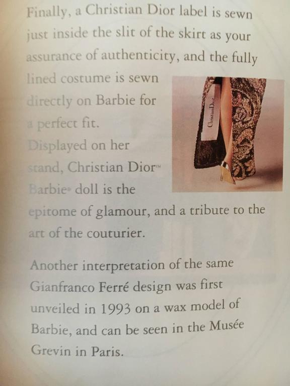 Christian Dior Haute Couture Barbie Doll by Gianfranco Ferre, 1993  For Sale 2