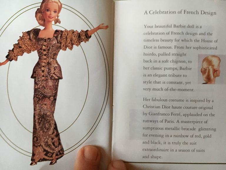 Christian Dior Haute Couture Barbie Doll by Gianfranco Ferre, 1993  For Sale 4