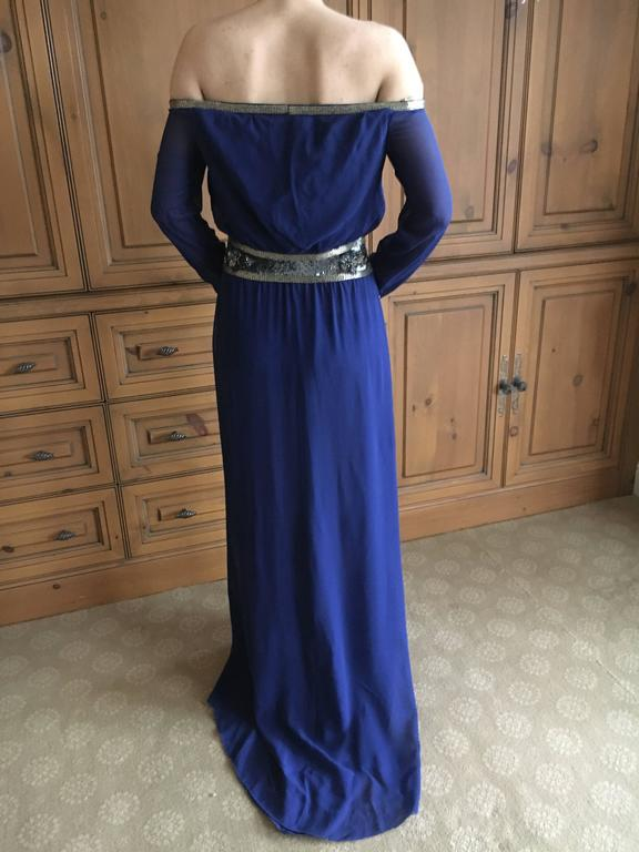 Purple Valentino Silk Chiffon Off the Shoulder Beaded Evening Dress with Keyhole Bust For Sale