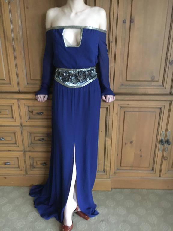 Valentino Silk Chiffon Off the Shoulder Beaded Evening Dress with Keyhole Bust.