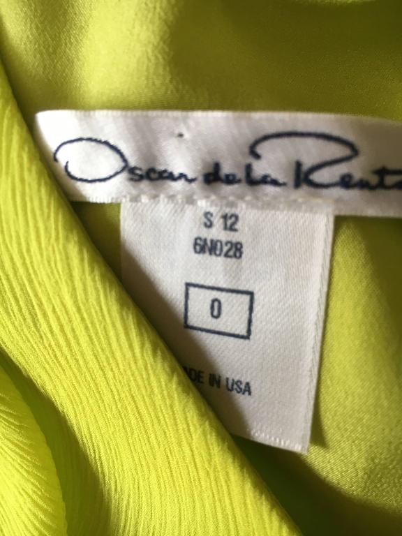 Oscar de la Renta Neon Green Silk Chiffon Goddess Gown For Sale 5