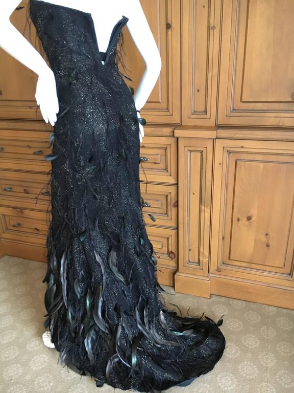 Oscar de la Renta Black and Gold Feather Trimmed Evening Gown with Train 2